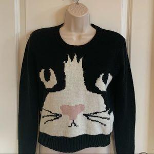 Super Cute and Comfy Black Cat Face Sweater